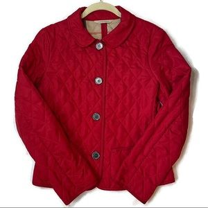Burberry Women's Diamond Quilted Red Jacket Size S
